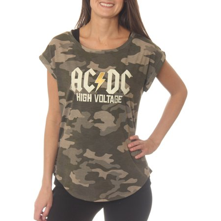 48b09a1f AC/DC - High Voltage Women's Open Back Camo Graphic Tee T-Shirt With Gold  Foil - Walmart.com