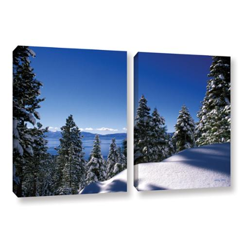 ArtWall Kathy Yates's Lake Tahoe in Winter, 2 Piece Gallery Wrapped Canvas Set 24x32