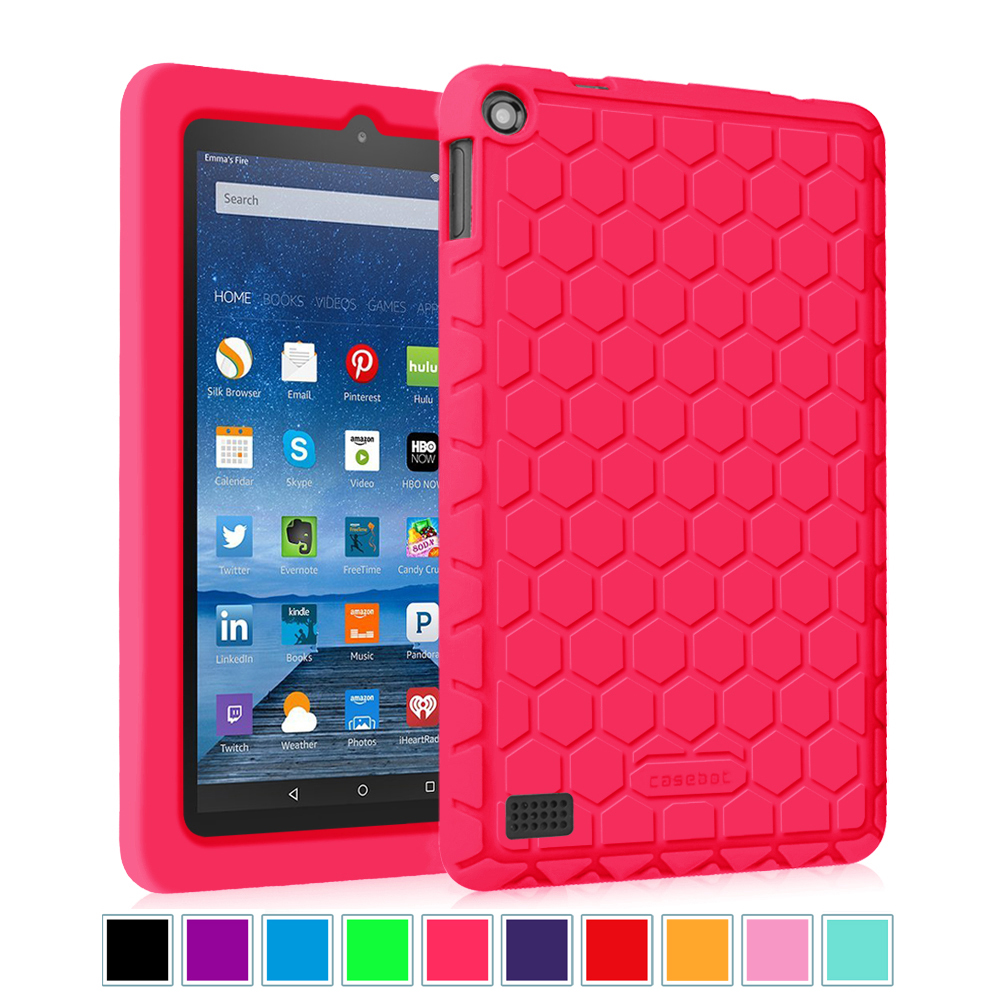 Fintie Amazon Fire 7 2015 5th Gen Case - [Honey Comb] Kiddie Anti Slip Shock Proof Silicone Protective Cover, Magenta