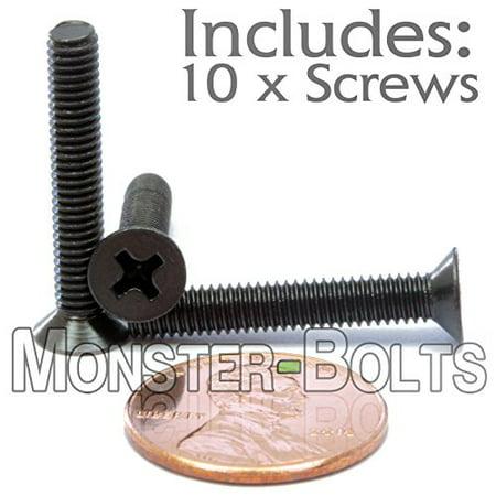 (10) M4-0.7 x 25mm - Phillips Flat Head Machine Screw (Countersunk) Class 4.8 Carbon Steel w Black Oxide Cross Recessed Type H Metric DIN 965 - MonsterBolts (10, M4 x 25mm) ()