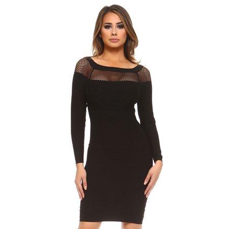 e1edf7c4dbc Luxury Divas - Long Sleeve Netted Neckline Bodycon Midi Dress - Walmart.com