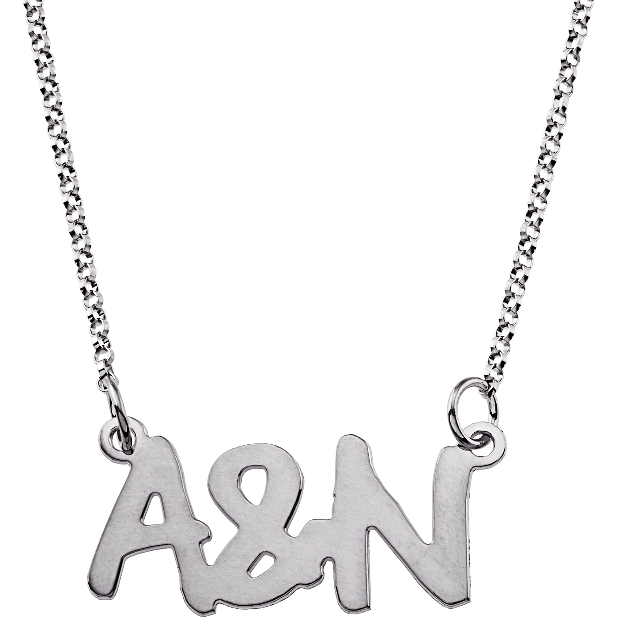 Personalized Women's Sterling Silver Couples Uppercase Initial Necklace, 18""