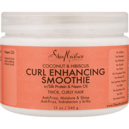 Coconut & Hibiscus Curl Enhancing Smoothie - Controls Frizz and Defines Soft Curls in Thick Hair - Sulfate-Free with Natural and Organic Ingredients - Hydrates Curly Hair and Adds Shine (12 oz) - Mustache Curl
