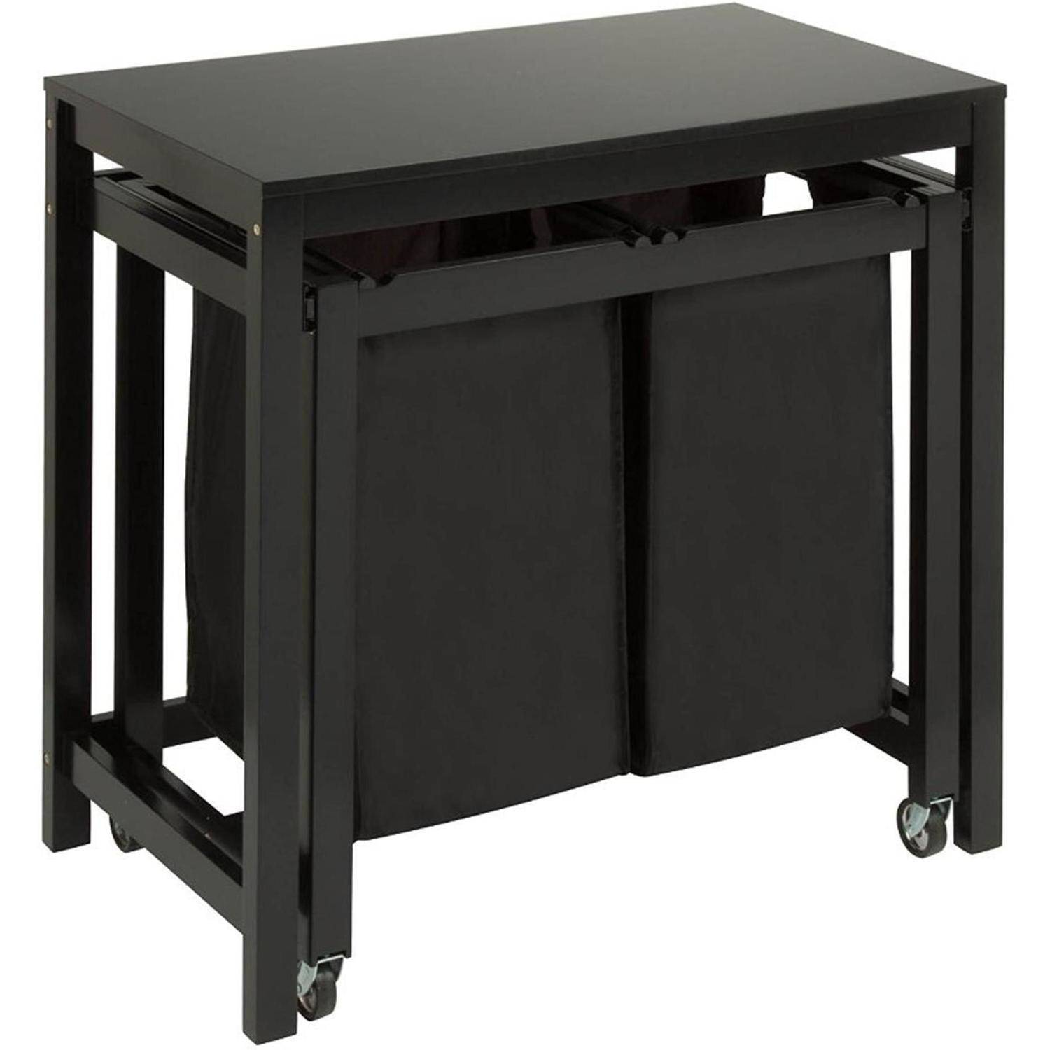 Honey Can Do Wood Laundry Sorter and Folding Table with 2 Bags, Black