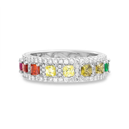 Lesa Michele Multicolored Cubic Zirconia Halo Round Border Ring in Sterling Silver