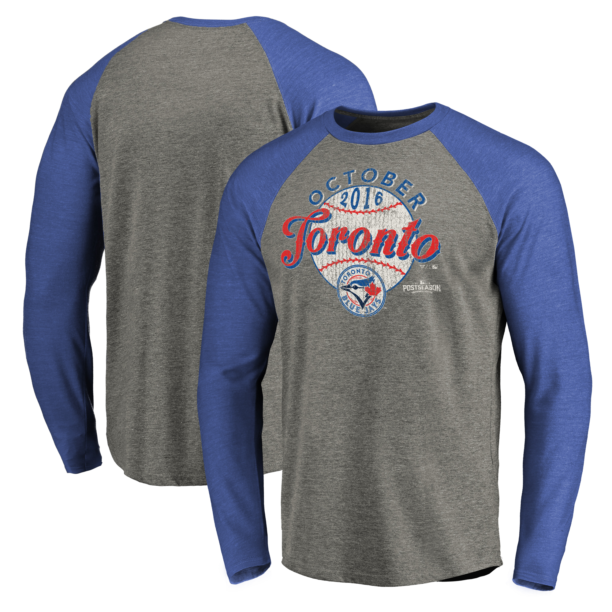 Toronto Blue Jays 2016 Postseason Clutch Long Sleeve Raglan Tri-Blend T-Shirt - Royal