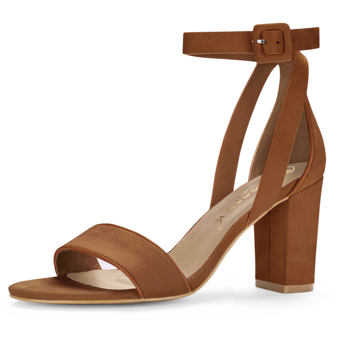 8f260525079 HJ284-5 Women PU Panel Piped Chunky Heel Ankle Strap Sandals Brown US 9
