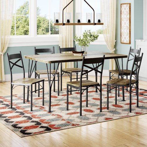 Superbe Union Rustic Landaverde Industrial 7 Piece Dining Set