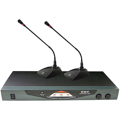 Pyle Professional Dual Table Top VHF Wireless Microphone System