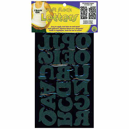 "Soft Flock Iron-On Letters 1-1/2"" Cooper-Black"