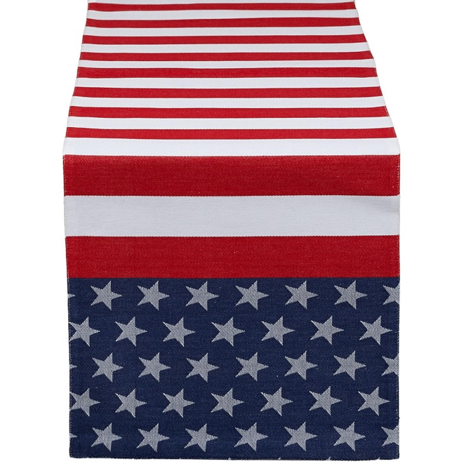 "54"" Patriotic Red, White and Blue American Flag Jacquard Table Runner"
