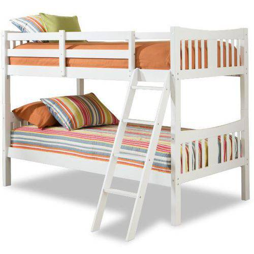 storkcraft caribou solid hardwood twin over twin wood bunk bed white
