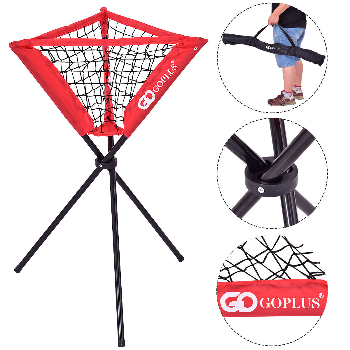 Goplus Portable Baseball Softball Batting Practice Ball Caddy with Carry Bag by Costway