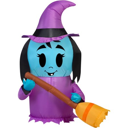 Gemmy Airblown Inflatable 3.5' X 2.5' Happy Witch Halloween Decoration