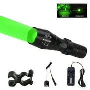 Green LED Predator Varmint Hunting Light Zoom Flashlight US Plug