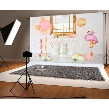 HelloDecor Polyester 7x5ft Photography Background Elegant Pink Flamingo Birthday Party Holiday Interior Room Decorations White Fireplace Table Window Balloons Stripes Wood Floor Photo Background (Holiday Fireplace Decorations)