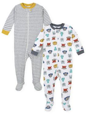 Gerber Baby Boys One-Piece Snug Fit Cotton Sleeper Pajamas, 2-pack