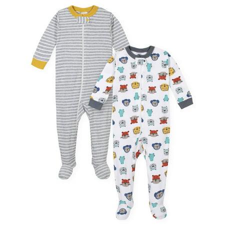 Gerber Baby Boys One-Piece Snug Fit Cotton Sleeper Pajamas, 2-pack Cotton Baby One Piece