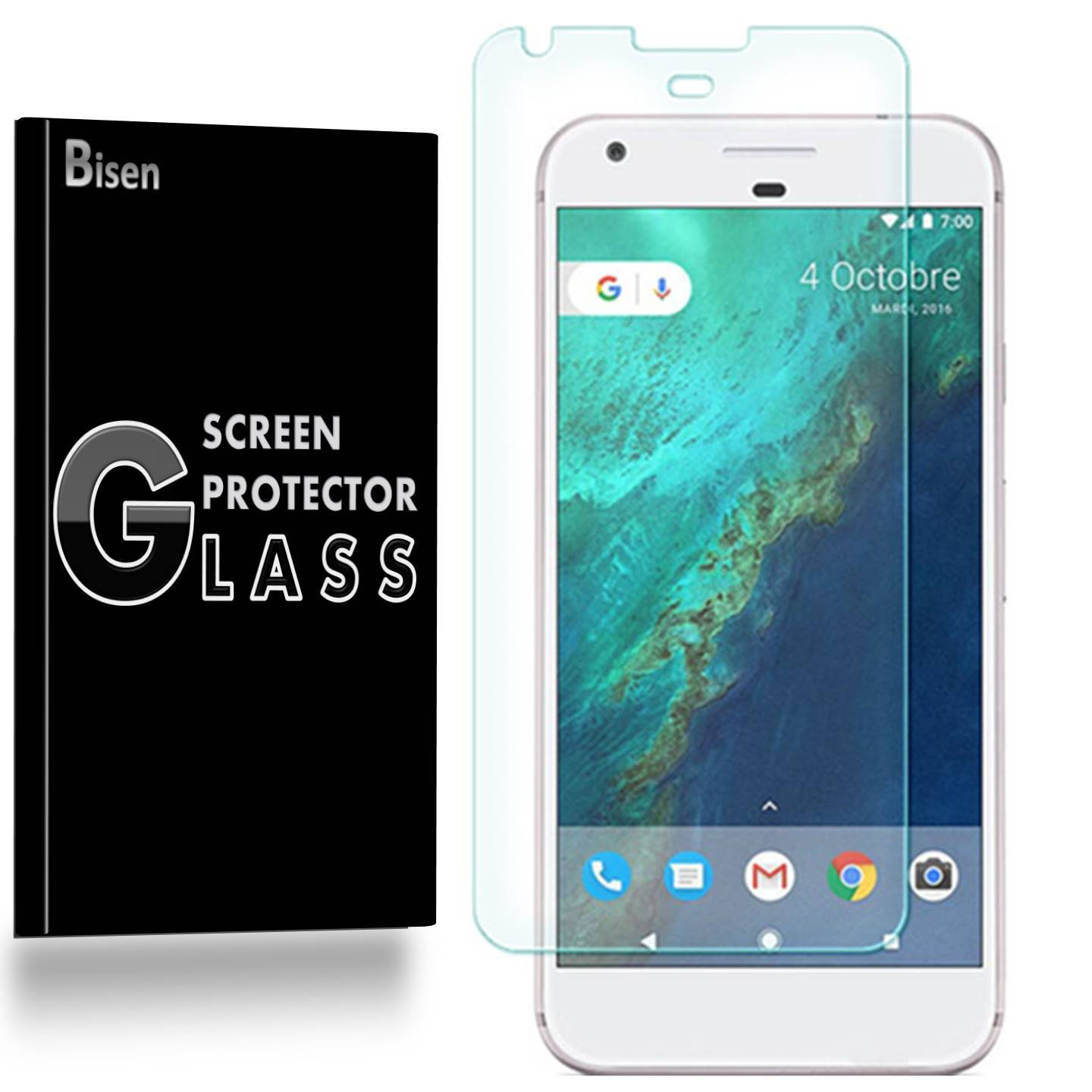 Google Pixel XL (2016 Release) [3-Pack BISEN] Screen Protector Tempered Glass, 9H Hardness, Anti-Scratch, Anti-Shock, Bubble Free, Shatterproof
