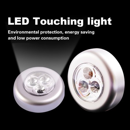 Portable Mini Round LED Bright Lights Touching Lamp Night Light Built-in 3Pcs Lights for Car Trunk/Cabinet/Cloakroom/Cupboard/Wardrobe/Kitchen - image 5 de 7
