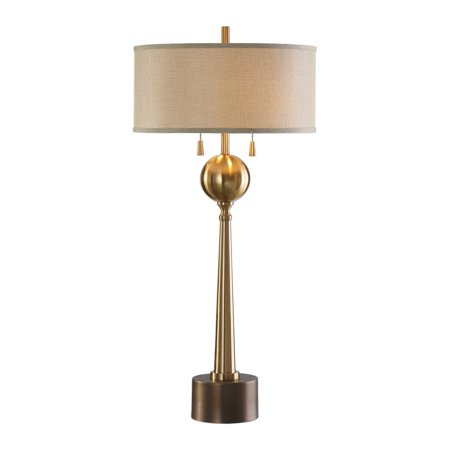 "36"" Kensett Antique Bronze Table Lamp with Round Hardback Drum Shade Antique Bronze Hardback Shades"