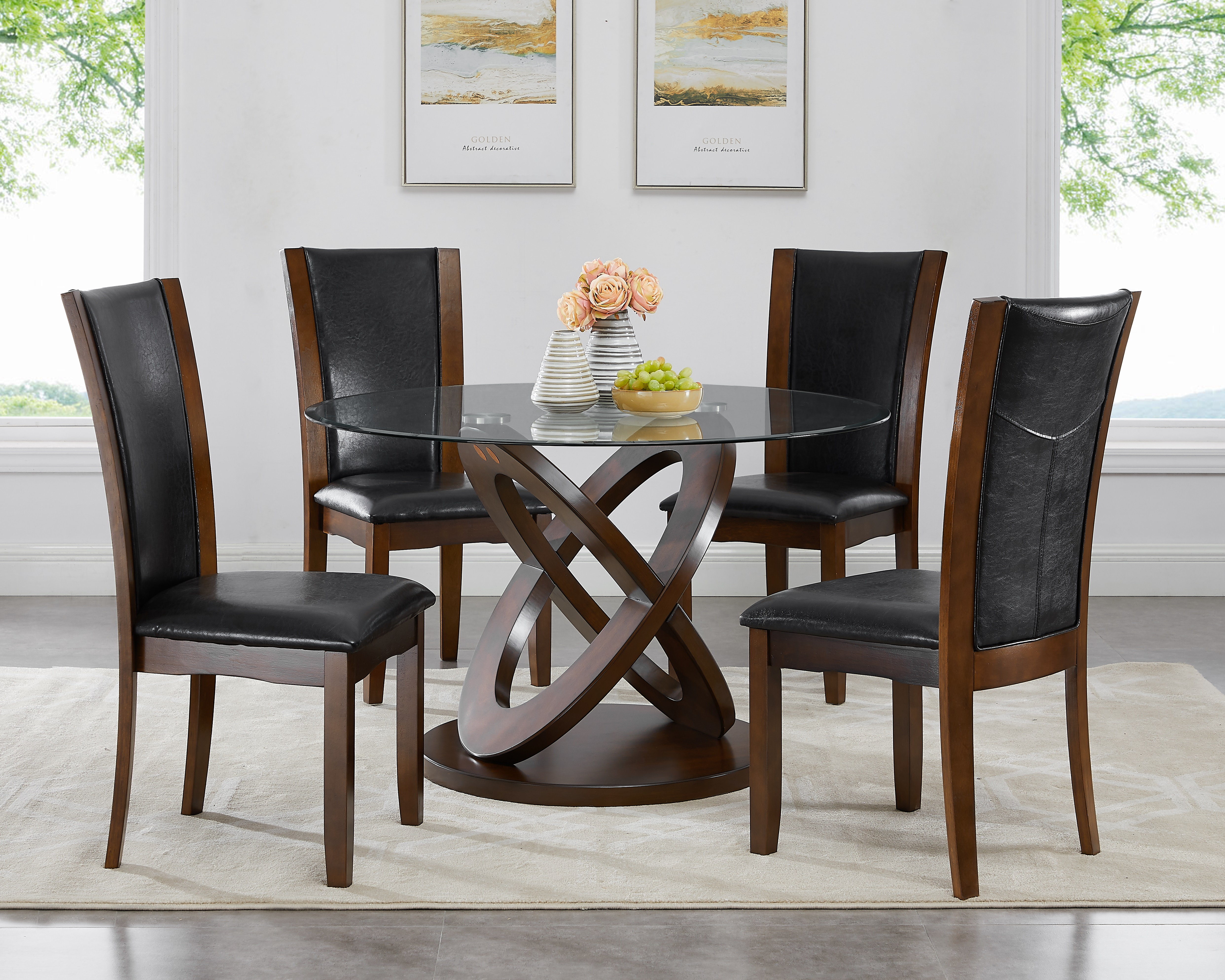 roundhill 5 piece cicicol glass top dining table with