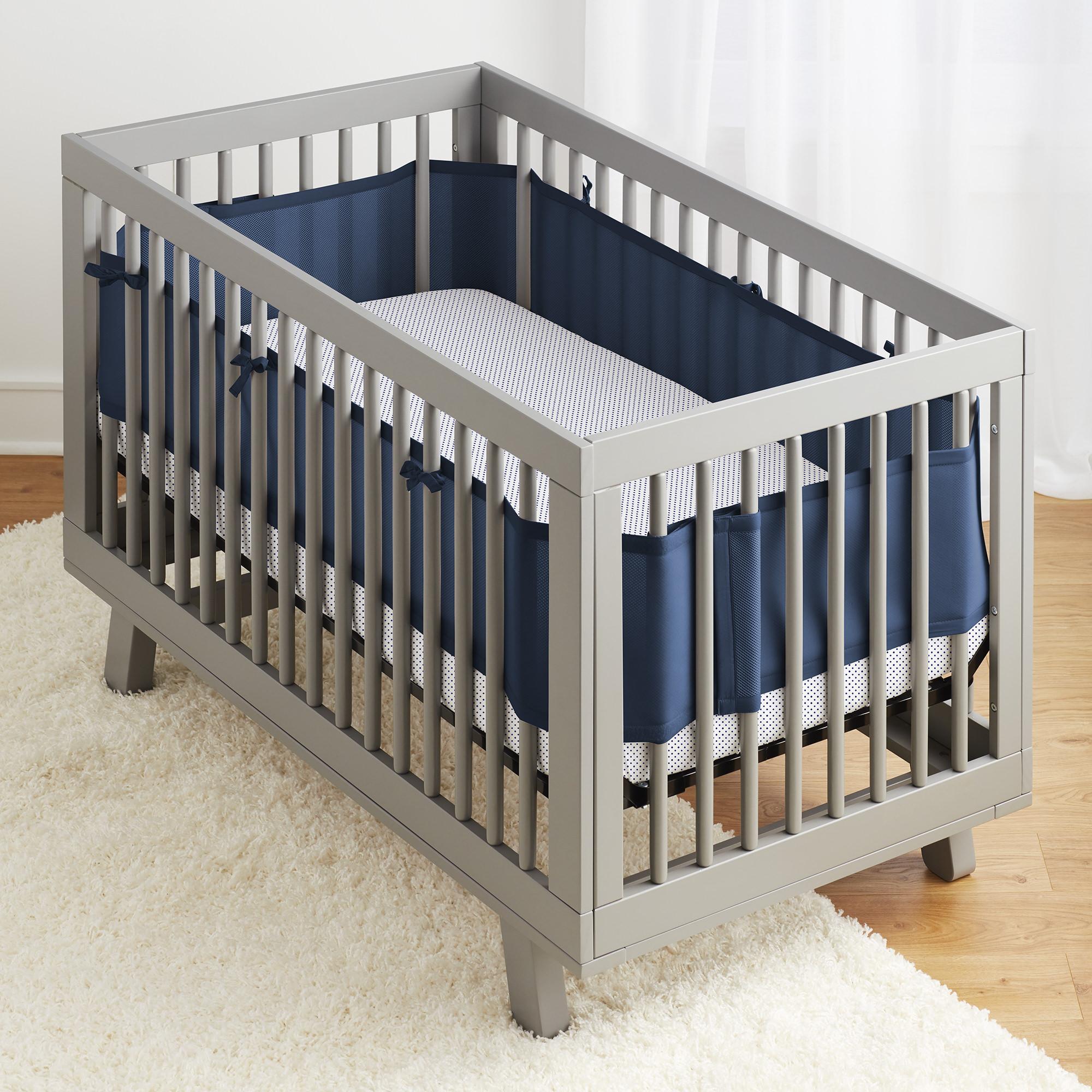 BreathableBaby® 3pc Classic Crib Bedding Set–Navy
