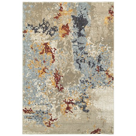 Sphinx Evolution Area Rugs - 8043K Contemporary Beige Faded Distressed Shaded Inverted Rug