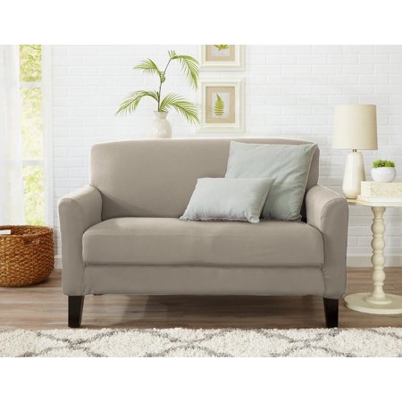 Atlantic Home Fashions Twill Form Fitting Stretch Fit One Piece Strapless Slipcover Couch Cover, Loveseat, Pale Silver Brushed Twill Sofa Slipcover