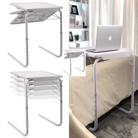 Zimtown 1 Pcs White Smart Bed Sofa Table Foldable Folding Adjustable Tray