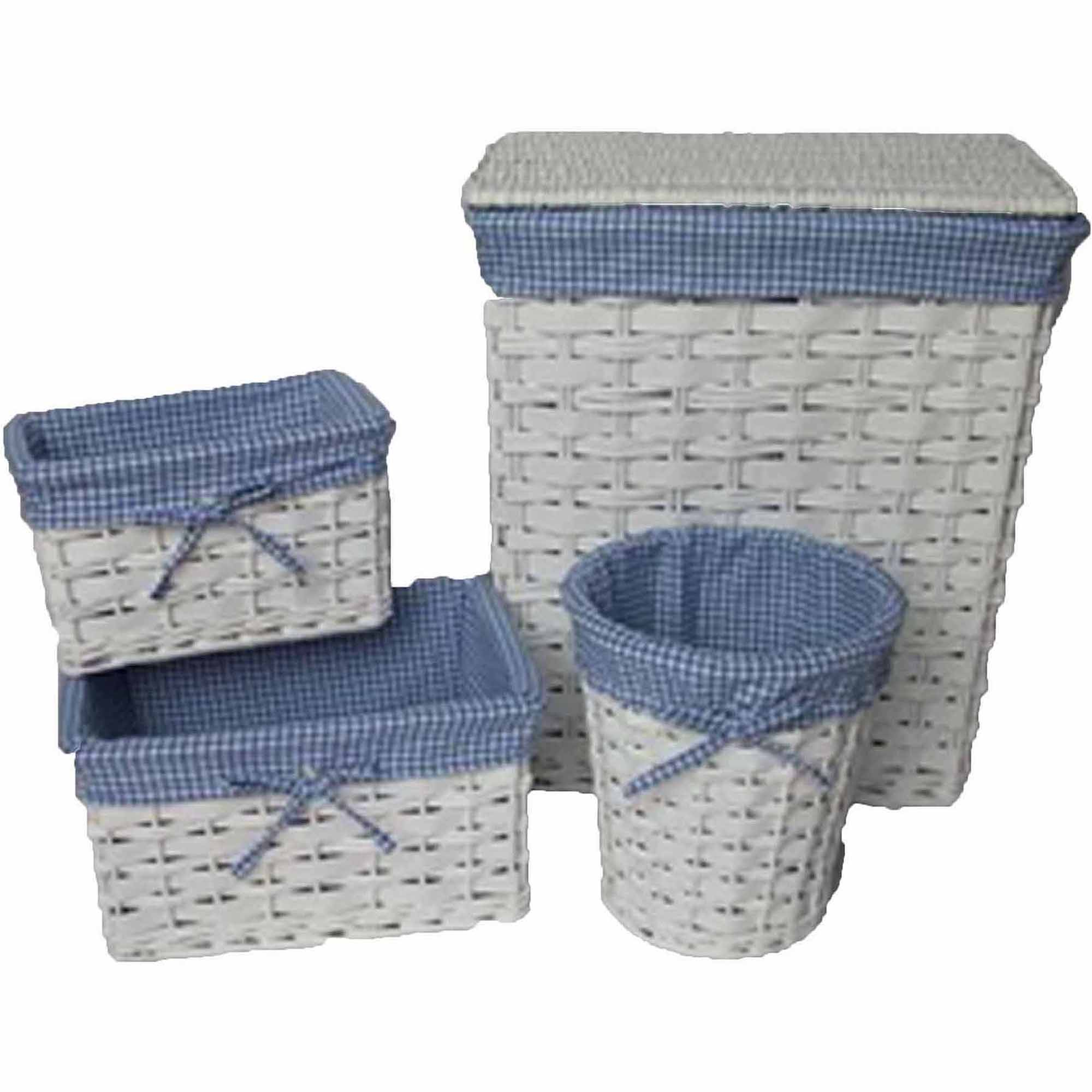 Baum 4-Piece Hamper Set with Blue Gingham Liners, White by Baum
