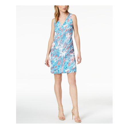 BAR III Womens Blue Printed Sleeveless V Neck Above The Knee Shift Dress  Size: L