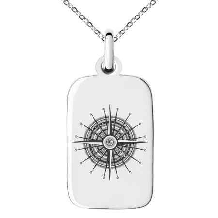 Needle Gauge Pendant (Stainless Steel Nautical Needle Dial Compass Engraved Small Rectangle Dog Tag Charm Pendant)