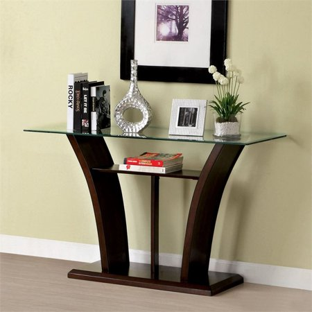 Furniture of America Lantler Glass Top Console Table in Dark