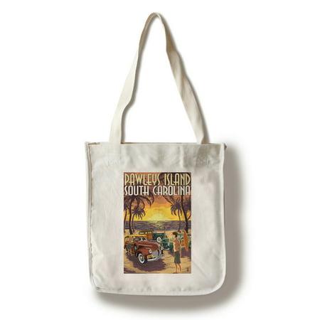 Pawleys Island, South Carolina - Woodies on Beach - Lantern Press Artwork (100% Cotton Tote Bag - Reusable)