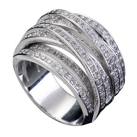 AkoaDa Hot 925 Silver Pave Setting Diamond Cz Cross Engagement Wedding Band Rings For