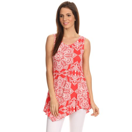 Sleeveless Tunic Top - Women's Sleeveless Printed Shirt Handkerchief Hem Tunic