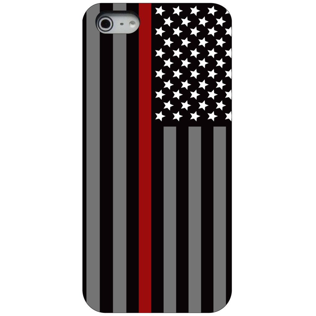 CUSTOM Black Hard Plastic Snap-On Case for Apple iPhone 5 / 5S / SE - Thin Red Line US Flag Fire Rescue
