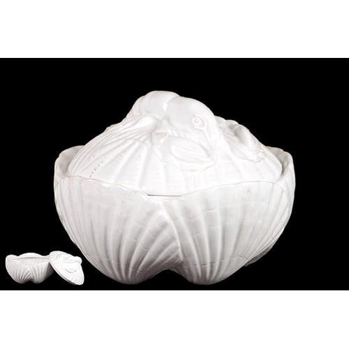 Woodland Imports Ceramic Seashell Container by Woodland Imports