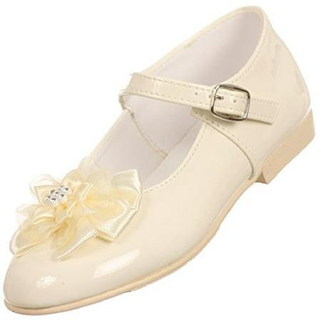 BNY Corner Patent Floral Ankle Strap Formal Uniform Flower Girl Dress Shoes Ivory 10 Toddler TR - Toddler Ivory Shoes