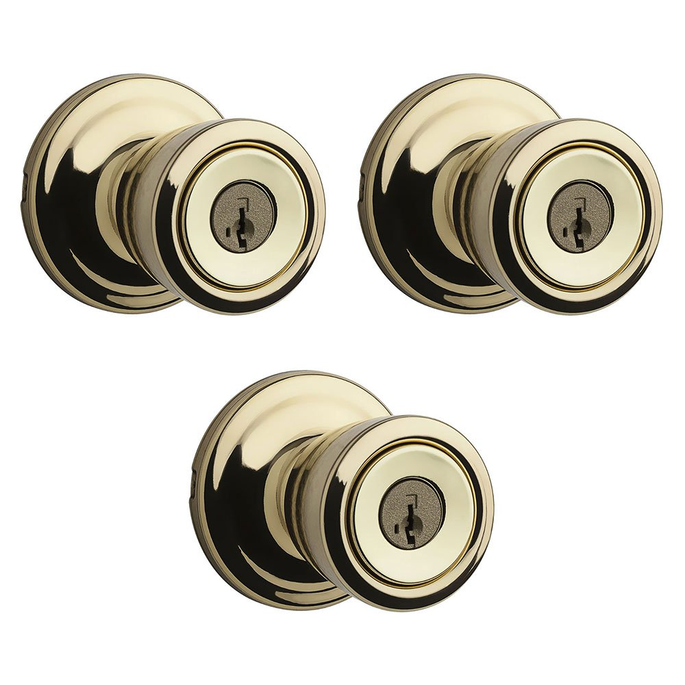 Kwikset Abbey Patio Porch Keyed Lock Handle Door Knob, Polished Brass (3 Pack)