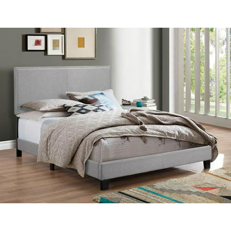 Crown Mark Erin Gray Upholstered Bed With Nail Head Trim King