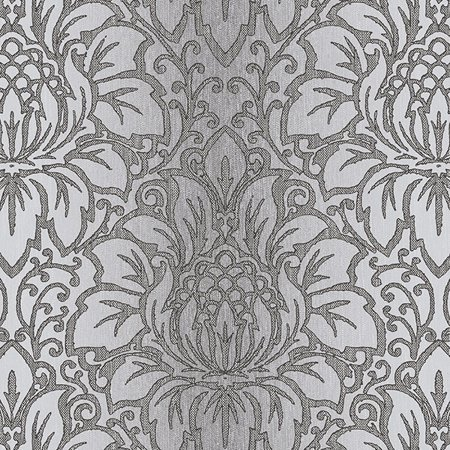 Norwall Wallcoverings Tx34822 Texture Style 2 Venetian Damask Wallpaper Black Grey Metallic Silver