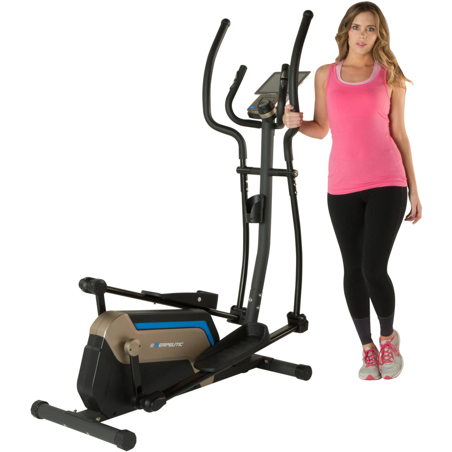 """Exerpeutic 4000 Double Transmission Drive 18"""" Stride Elliptical with Magnetic Resistance and Heart Rate Control 1317"""