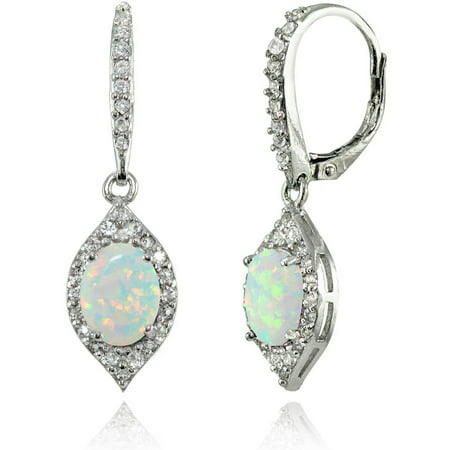 Simulated White Opal and White Topaz Sterling Silver Oval Dangle Leverback - Diamond Oval Dangle