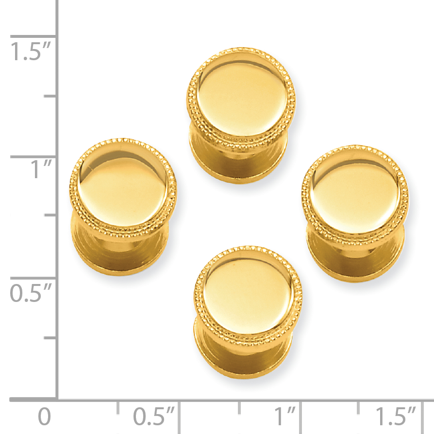 Gold Plated Kelly Waters Four Piece Beaded Tuxedo Studs Man Stud Fashion Jewelry Gift For Dad Mens For Him - image 1 de 2