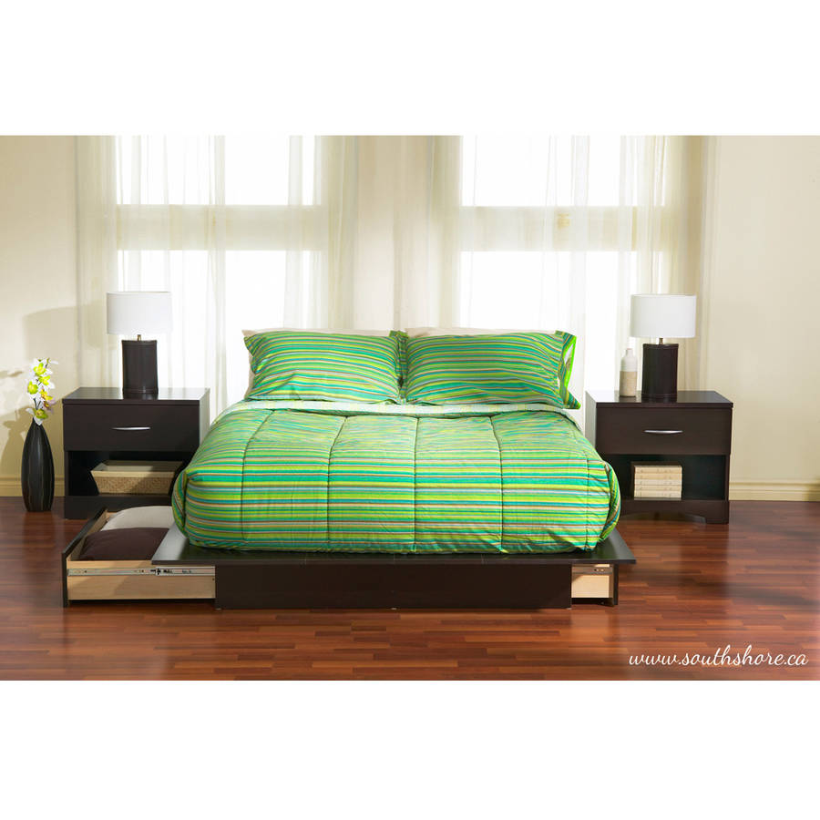 Platform Beds W Drawers : Full queen size storage platform bed w drawers black