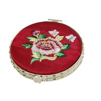 Round Two-double Embroider Dark Red Make-up Mirror New