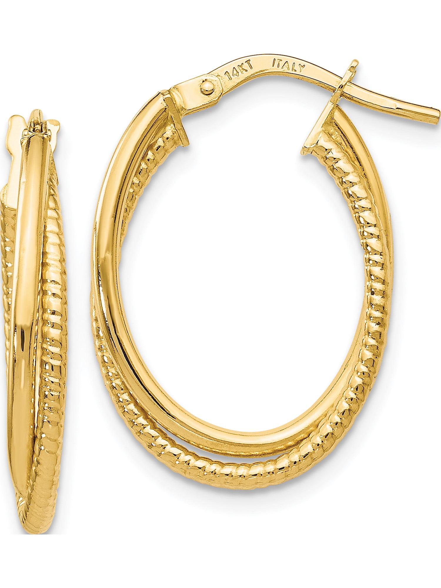 14K Gold 3.5mm Thickness Diamond Cut Hoop Hinged Earrings Ioka