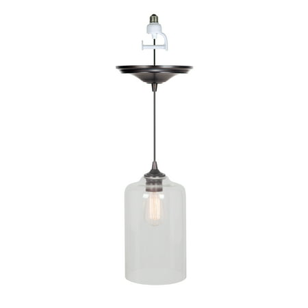 Instant Pendant Recessed Light Conversion Kit Brushed Bronze Clear Glass Shade ()
